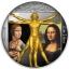 Renessansi geenius Leonardo Da Vinci-  Niue Saarte 2 $ 2019.a. antiikviimistluse ja kullatisega värvitrükis 1-untsine 99.9% hõbemünt